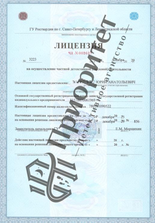 лицензия детектива
